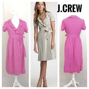 J.Crew Silk Taffeta Ruffle Wrap Dress in pink